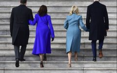 President-elect Joe Biden and his wife Jill, along with Vice President-elect Kamala Harris and her husband Douglas Emhoff walk up the steps at the U.S. Capitol as they arrive ahead of Biden's inauguration, Wednesday, Jan. 20, 2021, in Washington.